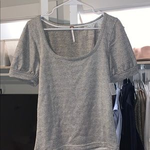 Free People Grey/Sparkle Balloon Sleeve Knit Top